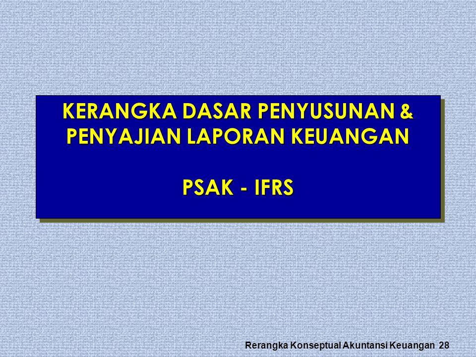 Rerangka Konseptual Akuntansi Keuangan 28 KERANGKA DASAR PENYUSUNAN & PENYAJIAN LAPORAN KEUANGAN PSAK - IFRS