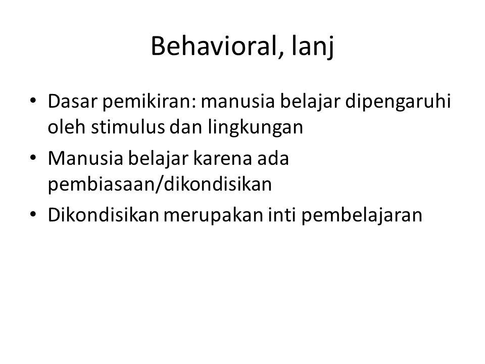 Behavioral, lanj Dasar pemikiran: manusia belajar dipengaruhi oleh stimulus dan lingkungan Manusia belajar karena ada pembiasaan/dikondisikan Dikondis