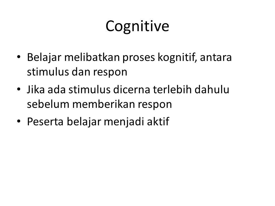 Cognitive Belajar melibatkan proses kognitif, antara stimulus dan respon Jika ada stimulus dicerna terlebih dahulu sebelum memberikan respon Peserta b