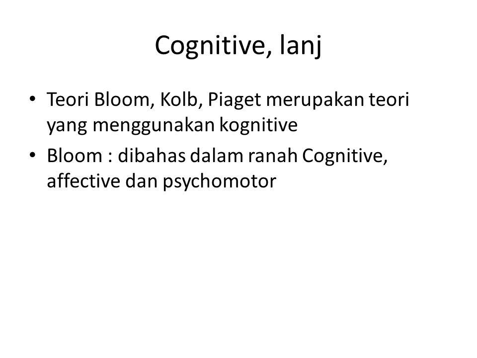 Cognitive, lanj Teori Bloom, Kolb, Piaget merupakan teori yang menggunakan kognitive Bloom : dibahas dalam ranah Cognitive, affective dan psychomotor