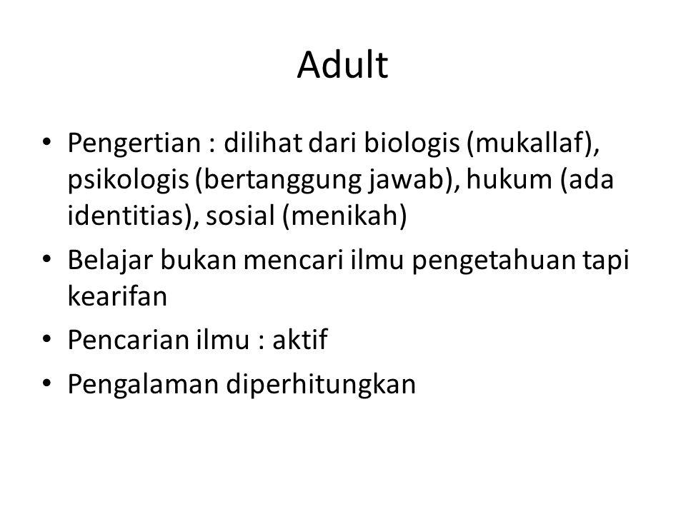 Adult Pengertian : dilihat dari biologis (mukallaf), psikologis (bertanggung jawab), hukum (ada identitias), sosial (menikah) Belajar bukan mencari il