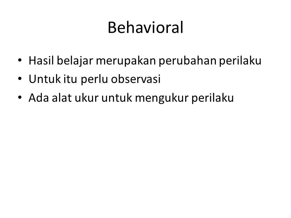 Behavioral Hasil belajar merupakan perubahan perilaku Untuk itu perlu observasi Ada alat ukur untuk mengukur perilaku