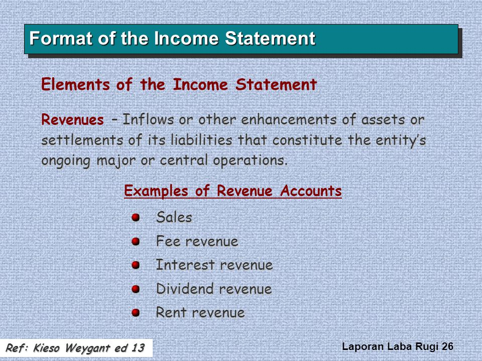 Laporan Laba Rugi 26 Format of the Income Statement – Inflows or other enhancements of assets or settlements of its liabilities that constitute the en