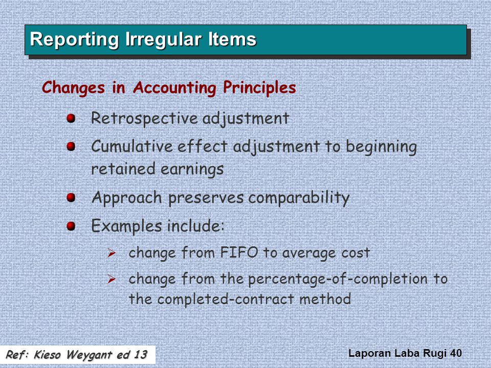 Laporan Laba Rugi 40 Changes in Accounting Principles Retrospective adjustment Cumulative effect adjustment to beginning retained earnings Approach pr