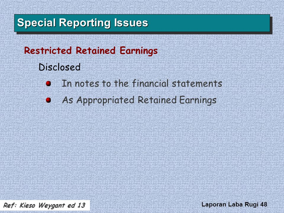 Laporan Laba Rugi 48 Restricted Retained Earnings Disclosed In notes to the financial statements As Appropriated Retained Earnings Special Reporting I