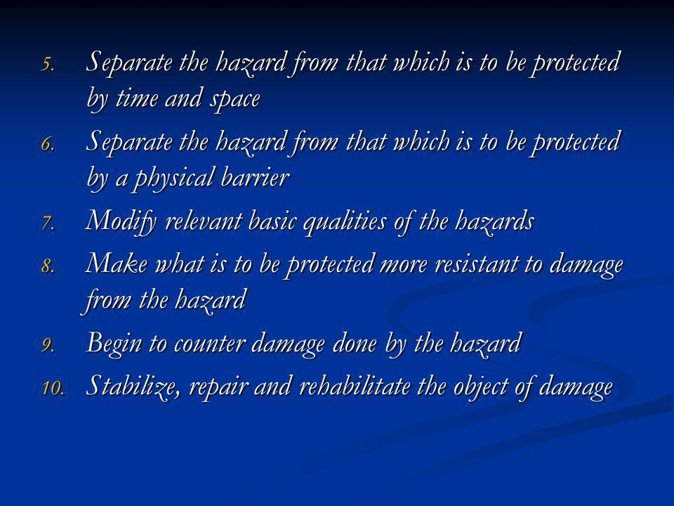 5.Separate the hazard from that which is to be protected by time and space 6.