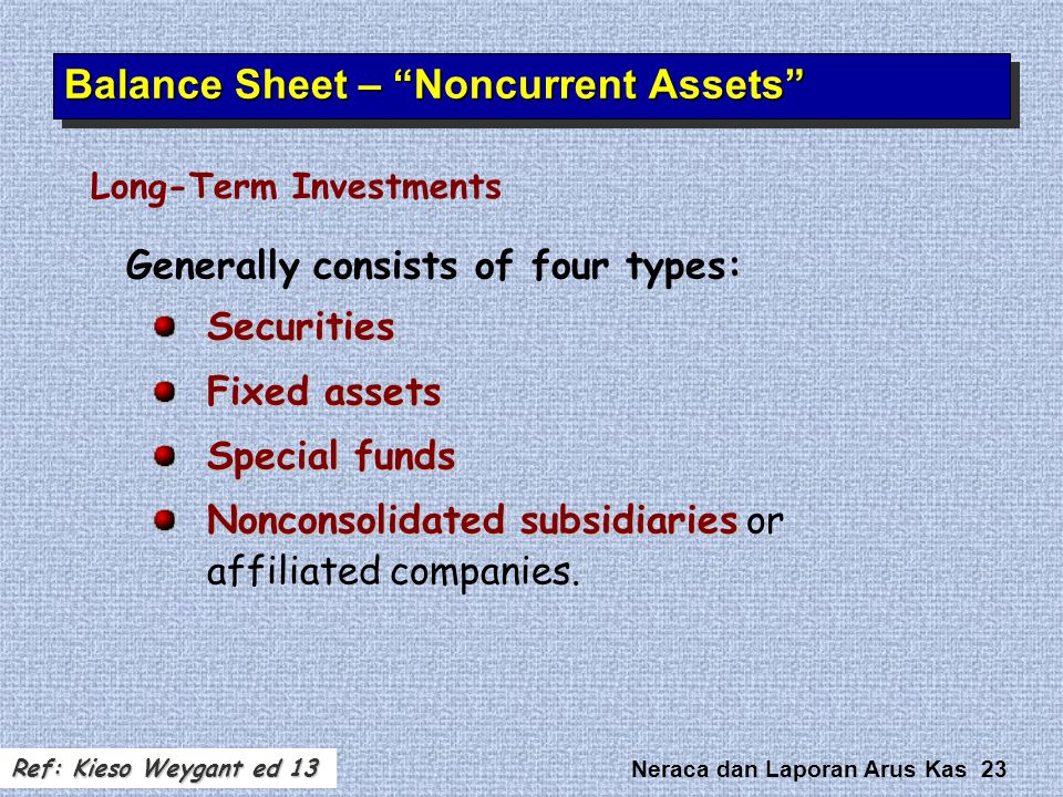Neraca dan Laporan Arus Kas 23 Generally consists of four types:Securities Fixed assets Special funds Nonconsolidated subsidiaries Nonconsolidated sub