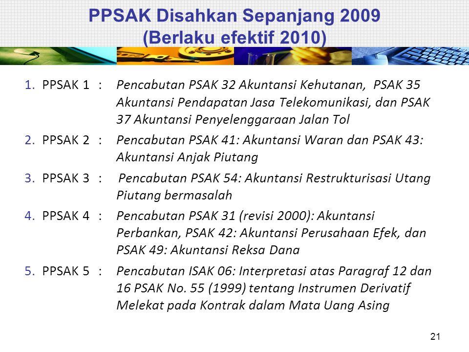 PPSAK Disahkan Sepanjang 2009 (Berlaku efektif 2010) 1.PPSAK 1 : Pencabutan PSAK 32 Akuntansi Kehutanan, PSAK 35 Akuntansi Pendapatan Jasa Telekomunikasi, dan PSAK 37 Akuntansi Penyelenggaraan Jalan Tol 2.PPSAK 2: Pencabutan PSAK 41: Akuntansi Waran dan PSAK 43: Akuntansi Anjak Piutang 3.PPSAK 3:Pencabutan PSAK 54: Akuntansi Restrukturisasi Utang Piutang bermasalah 4.PPSAK 4: Pencabutan PSAK 31 (revisi 2000): Akuntansi Perbankan, PSAK 42: Akuntansi Perusahaan Efek, dan PSAK 49: Akuntansi Reksa Dana 5.PPSAK 5: Pencabutan ISAK 06: Interpretasi atas Paragraf 12 dan 16 PSAK No.
