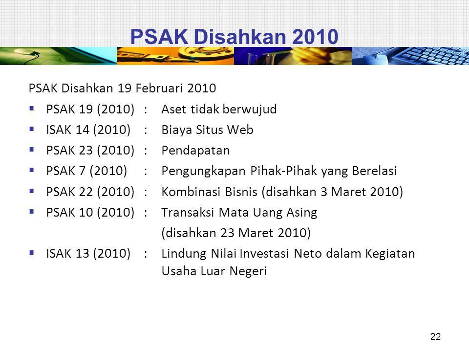 PSAK Disahkan 2010 PSAK Disahkan 19 Februari 2010  PSAK 19 (2010): Aset tidak berwujud  ISAK 14 (2010): Biaya Situs Web  PSAK 23 (2010): Pendapatan  PSAK 7 (2010): Pengungkapan Pihak-Pihak yang Berelasi  PSAK 22 (2010): Kombinasi Bisnis (disahkan 3 Maret 2010)  PSAK 10 (2010): Transaksi Mata Uang Asing (disahkan 23 Maret 2010)  ISAK 13 (2010) : Lindung Nilai Investasi Neto dalam Kegiatan Usaha Luar Negeri 22