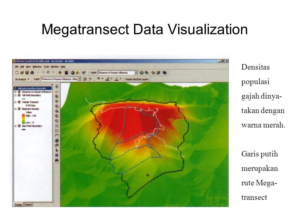 Megatransect Data Visualization aa Densitas populasi gajah dinya- takan dengan warna merah.