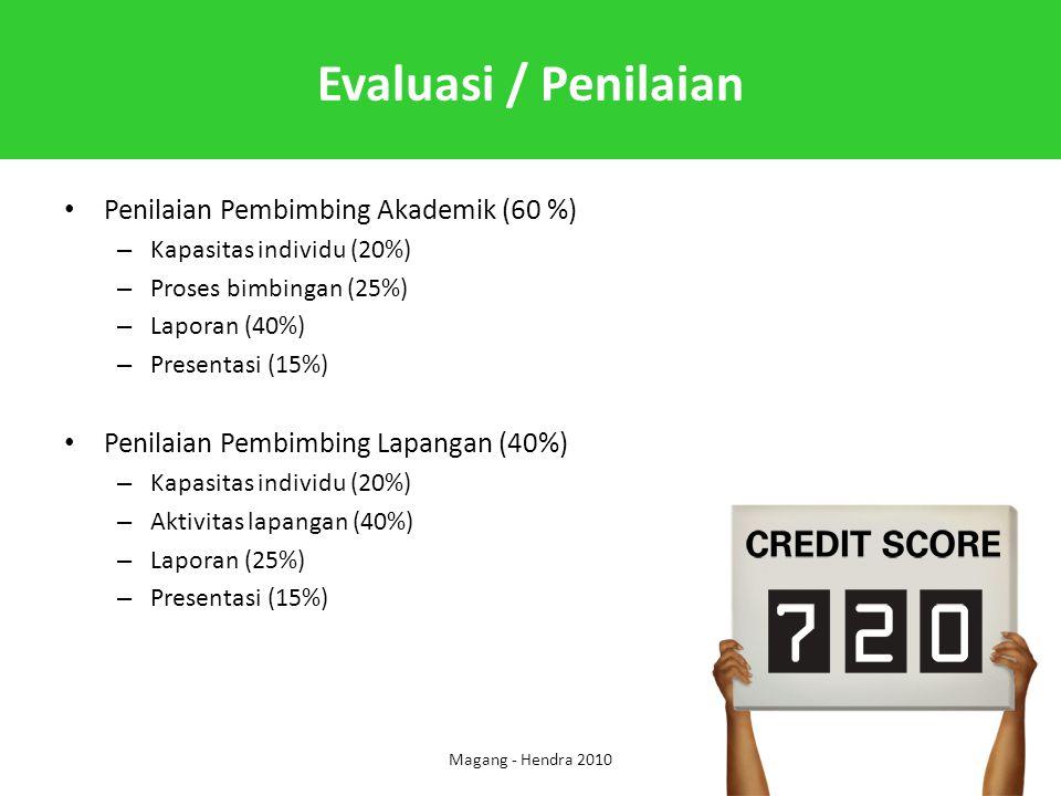 Evaluasi / Penilaian Penilaian Pembimbing Akademik (60 %) – Kapasitas individu (20%) – Proses bimbingan (25%) – Laporan (40%) – Presentasi (15%) Penil