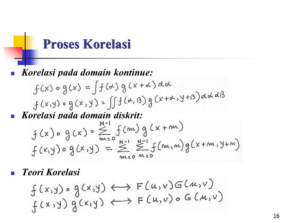 16 Proses Korelasi Korelasi pada domain kontinue: Korelasi pada domain diskrit: Teori Korelasi
