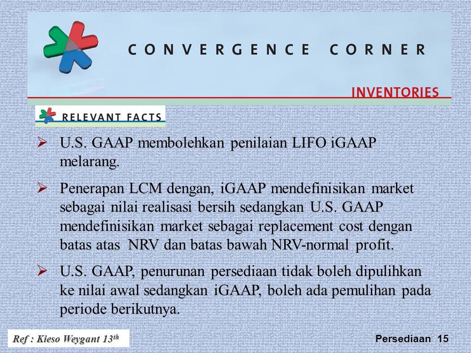 Persediaan 15  U.S.GAAP membolehkan penilaian LIFO iGAAP melarang.