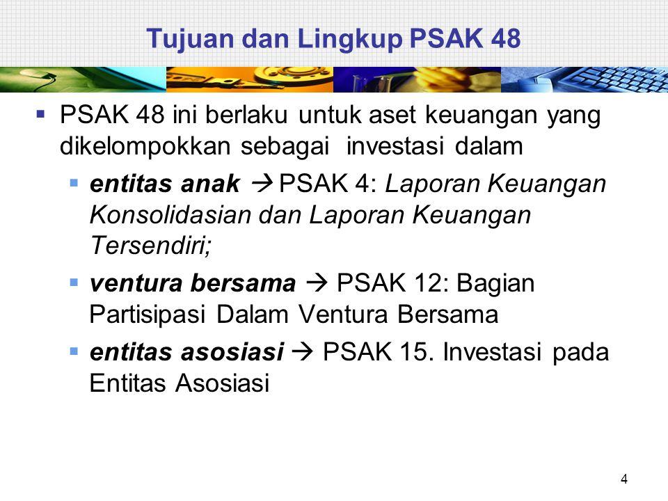  PSAK 48 ini tidak berlaku untuk:  aset keuangan yang termasuk dalam ruang lingkup PSAK 55, dan  properti investasi yang diukur pada nilai wajar sesuai PSAK 13.