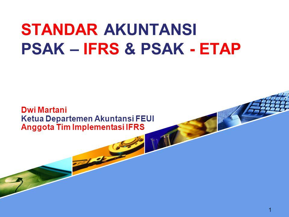 ROADMAP Tahap adopsi (2008-2010) Adopsi seluruh IFRS ke PSAK Persiapan infrastruktur yang diperlukan Evaluasi dan kelola dampak adopsi terhadap PSAK yang berlaku Tahap persiapan akhir (2011) Penyelesaian persiapan infrastruktur yang diperlukan Penerapan secara bertahap beberapa PSAK berbasis IFRS Tahap implementasi (2012) Penerapan PSAK berbasis IFRS secara bertahap Evaluasi dampak penerapan PSAK secara komprehensif 12
