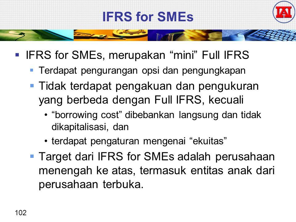 """102 IFRS for SMEs  IFRS for SMEs, merupakan """"mini"""" Full IFRS  Terdapat pengurangan opsi dan pengungkapan  Tidak terdapat pengakuan dan pengukuran y"""