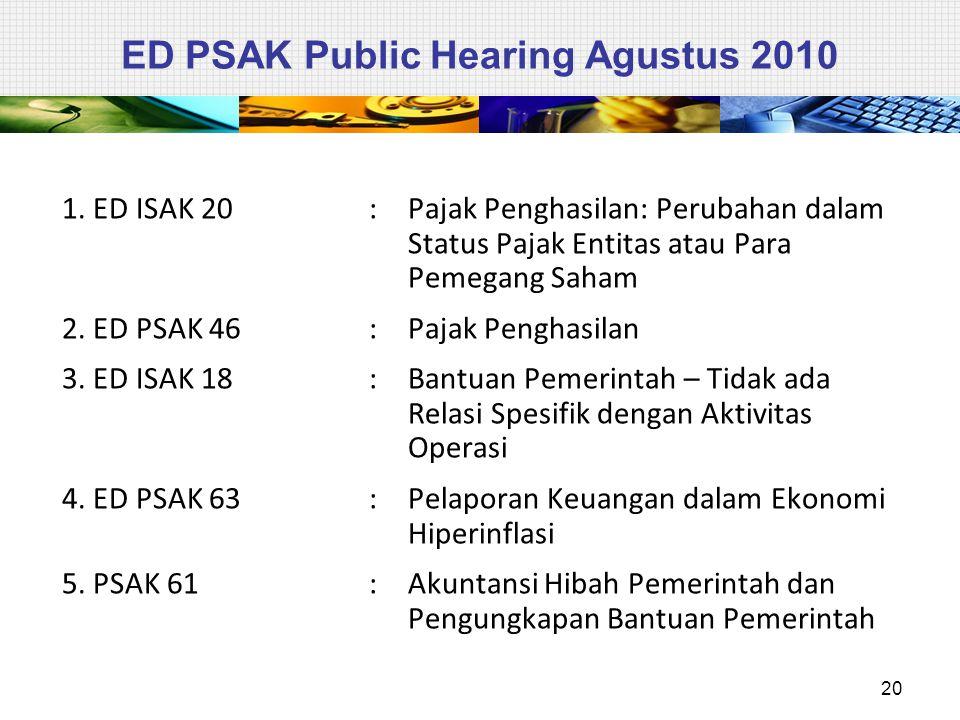 ED PSAK Public Hearing Agustus 2010 1. ED ISAK 20: Pajak Penghasilan: Perubahan dalam Status Pajak Entitas atau Para Pemegang Saham 2. ED PSAK 46: Paj