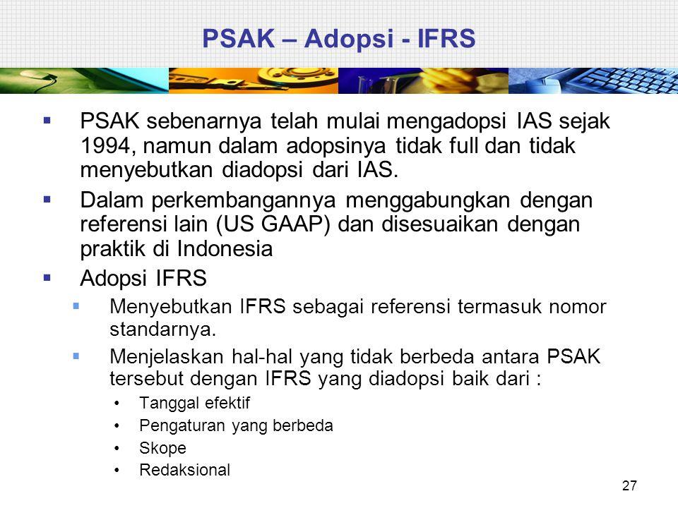 PSAK – Adopsi - IFRS  PSAK sebenarnya telah mulai mengadopsi IAS sejak 1994, namun dalam adopsinya tidak full dan tidak menyebutkan diadopsi dari IAS