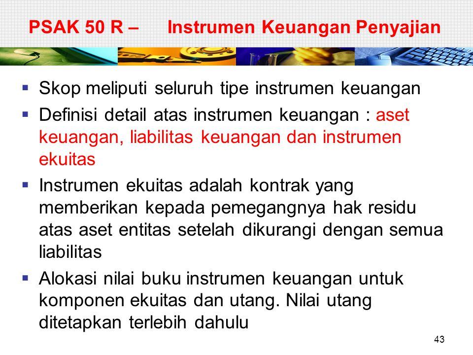 PSAK 50 R – Instrumen Keuangan Penyajian  Skop meliputi seluruh tipe instrumen keuangan  Definisi detail atas instrumen keuangan : aset keuangan, li