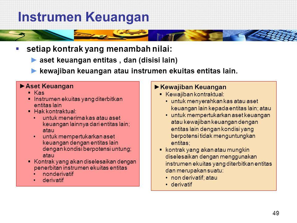 49 Instrumen Keuangan  setiap kontrak yang menambah nilai: ►aset keuangan entitas, dan (disisi lain) ►kewajiban keuangan atau instrumen ekuitas entit
