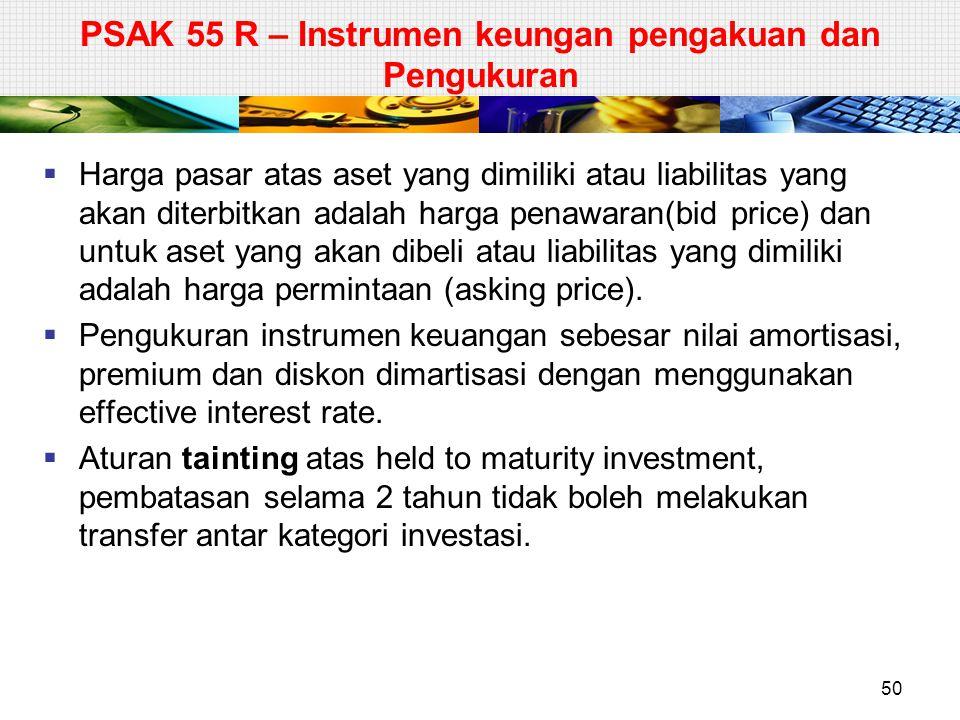 PSAK 55 R – Instrumen keungan pengakuan dan Pengukuran  Harga pasar atas aset yang dimiliki atau liabilitas yang akan diterbitkan adalah harga penawa
