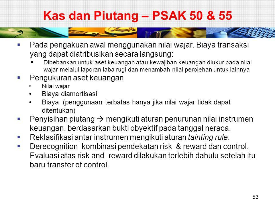 Kas dan Piutang – PSAK 50 & 55  Pada pengakuan awal menggunakan nilai wajar. Biaya transaksi yang dapat diatribusikan secara langsung:  Dibebankan u