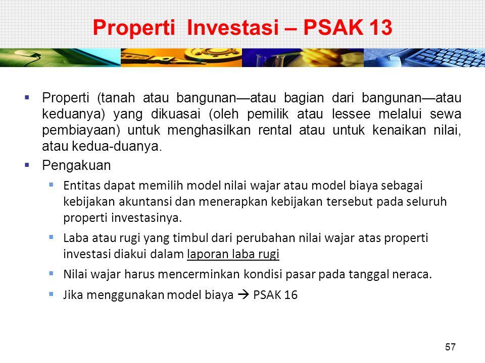 Properti Investasi – PSAK 13  Properti (tanah atau bangunan—atau bagian dari bangunan—atau keduanya) yang dikuasai (oleh pemilik atau lessee melalui