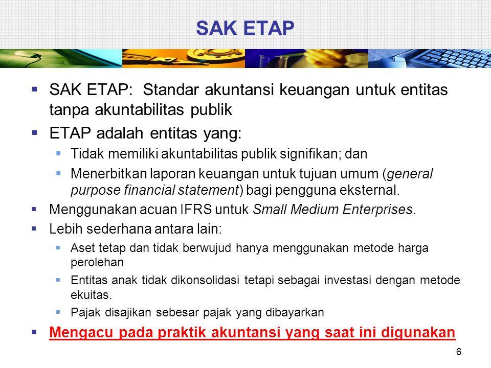 Siapa pengguna SAK ETAP  Entitas Tanpa Akuntabilitas Publik (ETAP), yaitu entitas yang tidak memiliki akuntabilitas publik signifikan, yaitu entitas yang:  Tidak tercatat di pasar modal,  Tidak sedang dalam proses untuk pengajuan pernyataan pendaftaran di pasar modal  Bukan lembaga keuangan 97