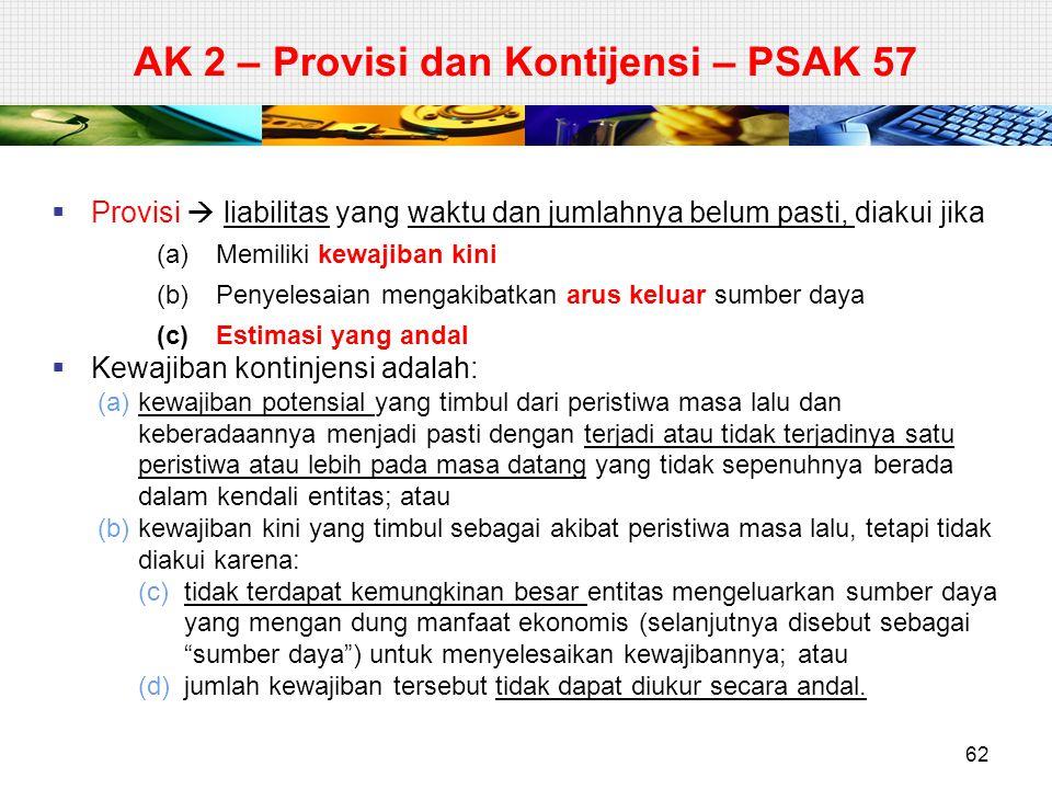 AK 2 – Provisi dan Kontijensi – PSAK 57  Provisi  liabilitas yang waktu dan jumlahnya belum pasti, diakui jika (a)Memiliki kewajiban kini (b)Penyele