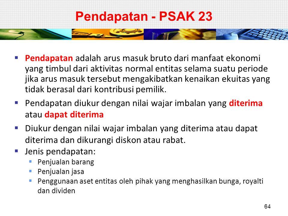 Pendapatan - PSAK 23  Pendapatan adalah arus masuk bruto dari manfaat ekonomi yang timbul dari aktivitas normal entitas selama suatu periode jika aru