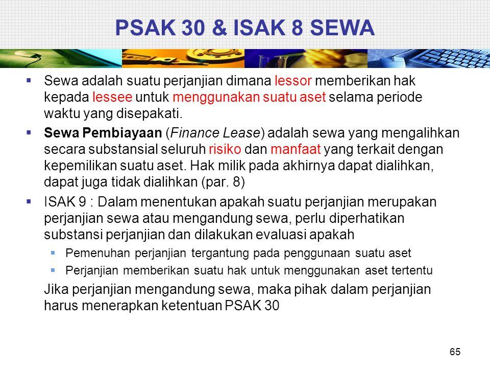 PSAK 30 & ISAK 8 SEWA  Sewa adalah suatu perjanjian dimana lessor memberikan hak kepada lessee untuk menggunakan suatu aset selama periode waktu yang