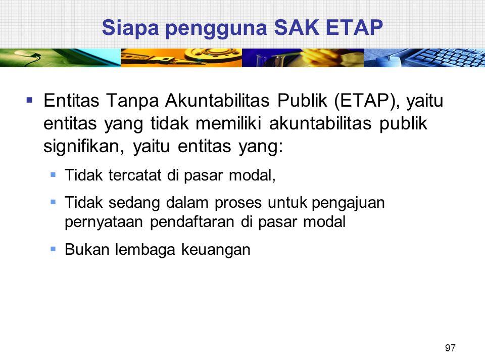 Siapa pengguna SAK ETAP  Entitas Tanpa Akuntabilitas Publik (ETAP), yaitu entitas yang tidak memiliki akuntabilitas publik signifikan, yaitu entitas