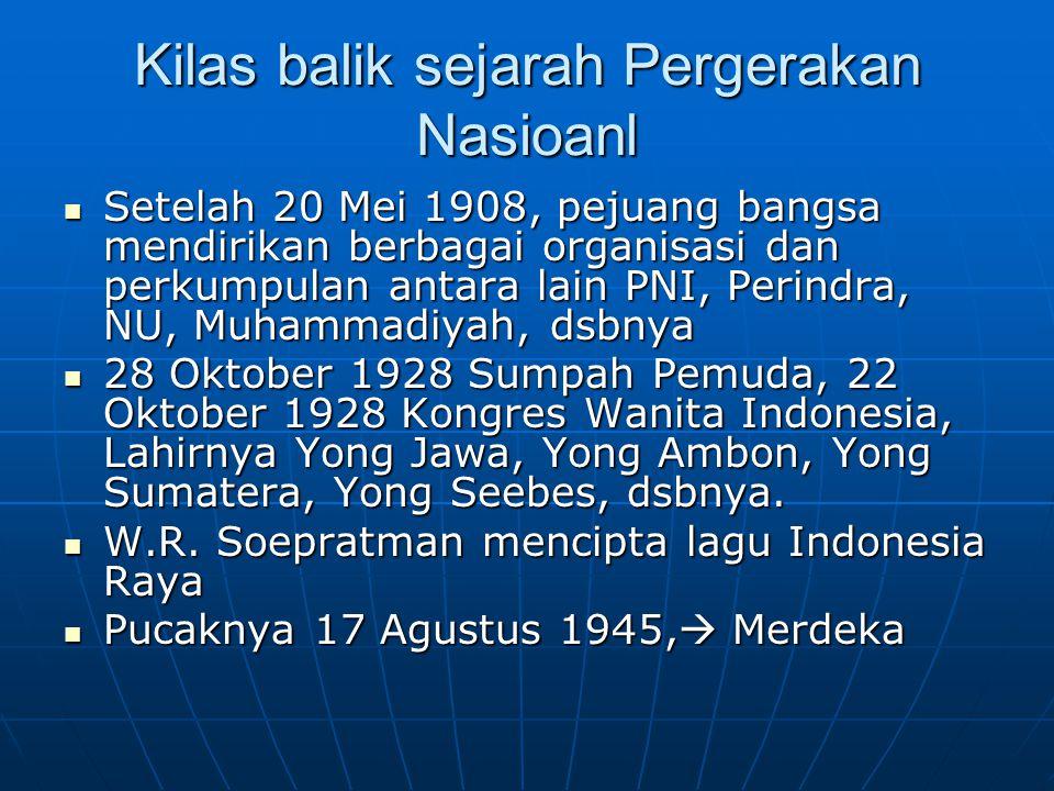 Kilas balik sejarah Pergerakan Nasioanl Setelah 20 Mei 1908, pejuang bangsa mendirikan berbagai organisasi dan perkumpulan antara lain PNI, Perindra,
