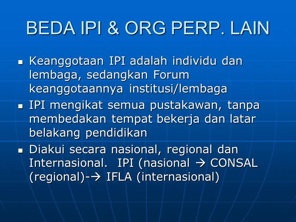 BEDA IPI & ORG PERP. LAIN Keanggotaan IPI adalah individu dan lembaga, sedangkan Forum keanggotaannya institusi/lembaga Keanggotaan IPI adalah individ