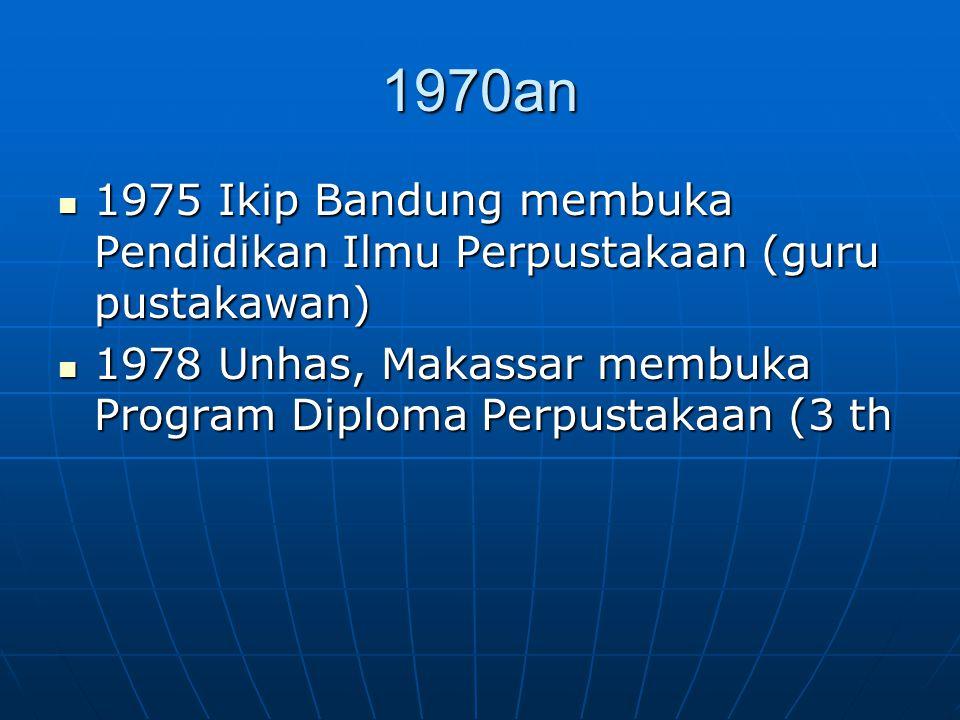 1970an 1975 Ikip Bandung membuka Pendidikan Ilmu Perpustakaan (guru pustakawan) 1975 Ikip Bandung membuka Pendidikan Ilmu Perpustakaan (guru pustakawa