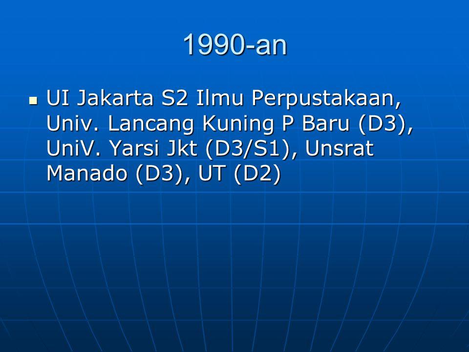 1990-an UI Jakarta S2 Ilmu Perpustakaan, Univ. Lancang Kuning P Baru (D3), UniV. Yarsi Jkt (D3/S1), Unsrat Manado (D3), UT (D2) UI Jakarta S2 Ilmu Per
