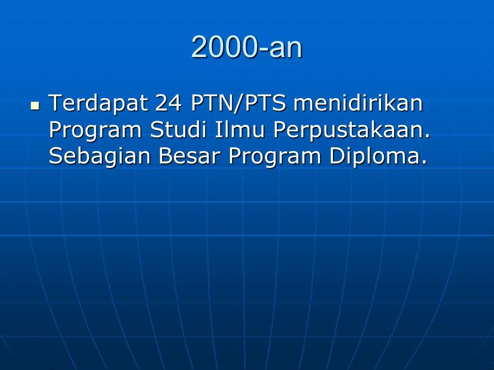 2000-an Terdapat 24 PTN/PTS menidirikan Program Studi Ilmu Perpustakaan. Sebagian Besar Program Diploma. Terdapat 24 PTN/PTS menidirikan Program Studi