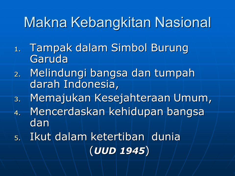 Makna Kebangkitan Nasional 1. Tampak dalam Simbol Burung Garuda 2. Melindungi bangsa dan tumpah darah Indonesia, 3. Memajukan Kesejahteraan Umum, 4. M