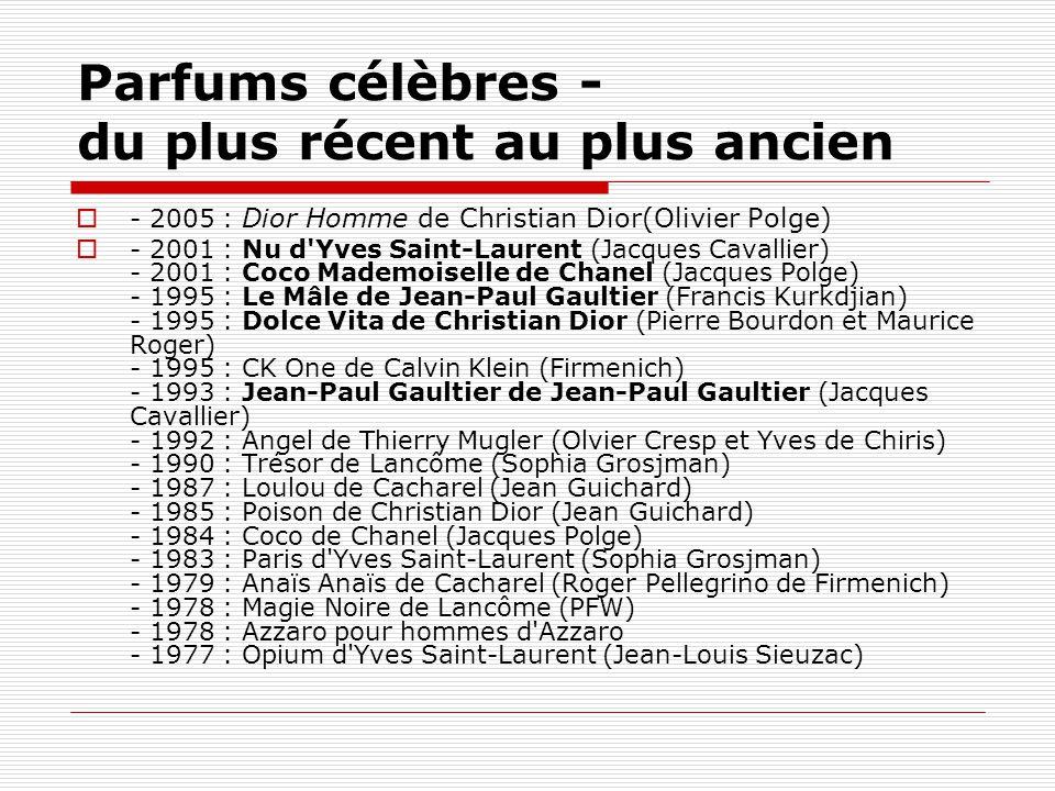 Parfums célèbres - du plus récent au plus ancien  - 2005 : Dior Homme de Christian Dior(Olivier Polge)  - 2001 : Nu d'Yves Saint-Laurent (Jacques Ca
