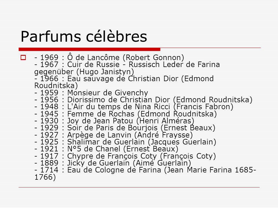 Parfums célèbres  - 1969 : Ô de Lancôme (Robert Gonnon) - 1967 : Cuir de Russie - Russisch Leder de Farina gegenüber (Hugo Janistyn) - 1966 : Eau sau