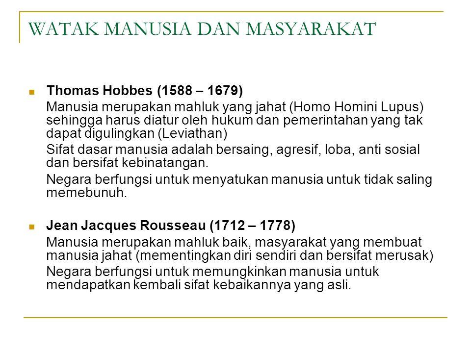 WATAK MANUSIA DAN MASYARAKAT Thomas Hobbes (1588 – 1679) Manusia merupakan mahluk yang jahat (Homo Homini Lupus) sehingga harus diatur oleh hukum dan pemerintahan yang tak dapat digulingkan (Leviathan) Sifat dasar manusia adalah bersaing, agresif, loba, anti sosial dan bersifat kebinatangan.