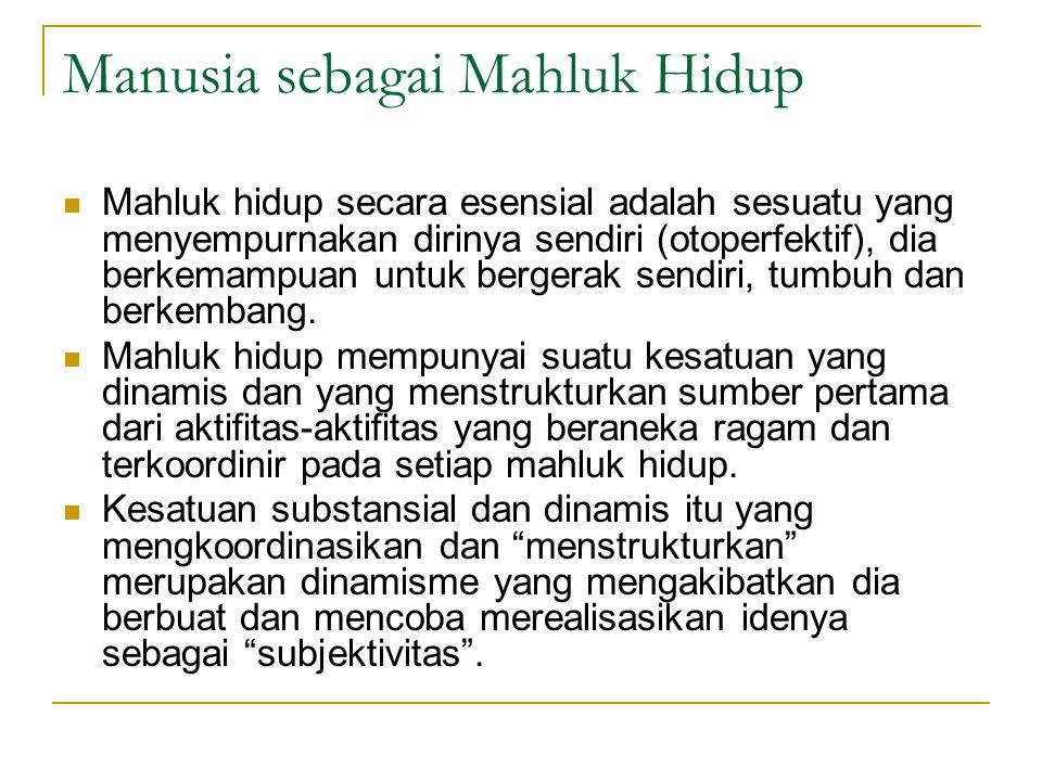 Manusia sebagai Mahluk Hidup Mahluk hidup secara esensial adalah sesuatu yang menyempurnakan dirinya sendiri (otoperfektif), dia berkemampuan untuk bergerak sendiri, tumbuh dan berkembang.