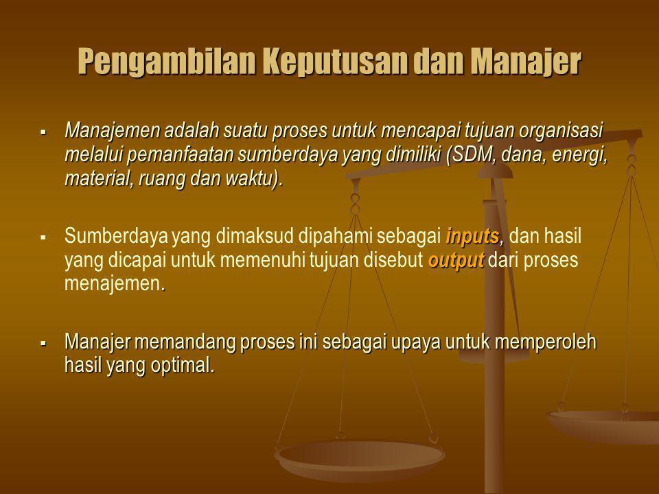Pengambilan Keputusan dan Manajer  Manajemen adalah suatu proses untuk mencapai tujuan organisasi melalui pemanfaatan sumberdaya yang dimiliki (SDM, dana, energi, material, ruang dan waktu).