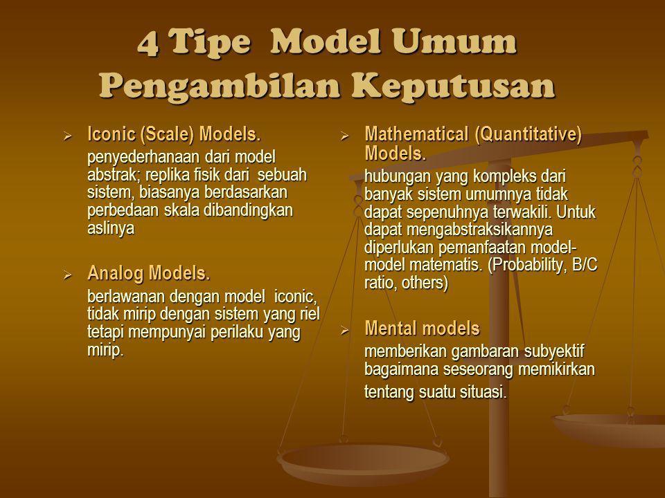 4 Tipe Model Umum Pengambilan Keputusan  Iconic (Scale) Models.  Iconic (Scale) Models. penyederhanaan dari model abstrak; replika fisik dari sebuah