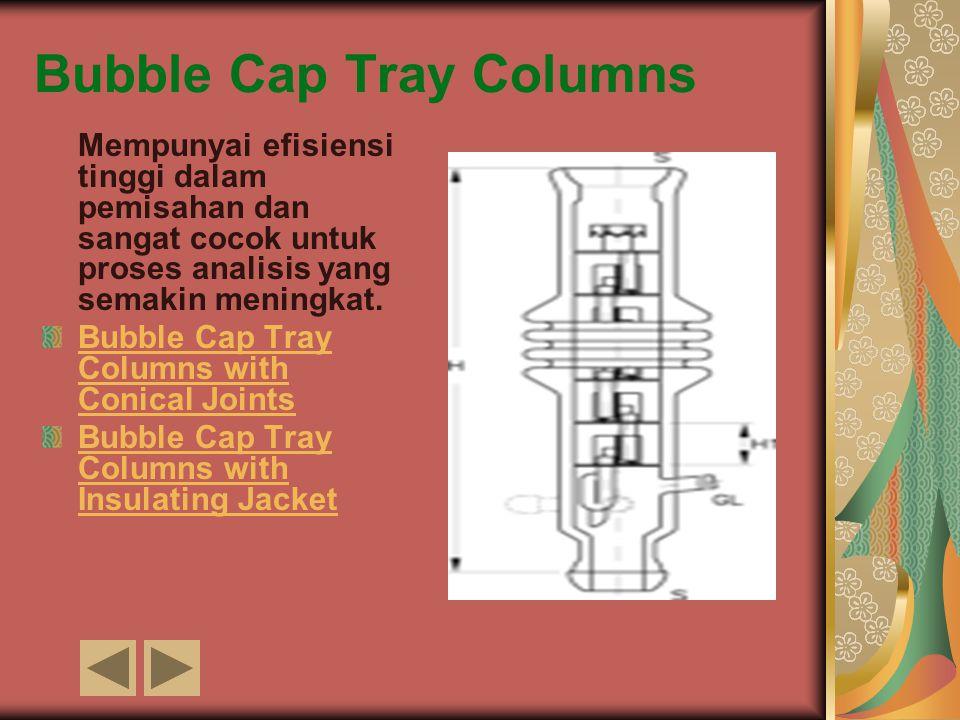 Bubble Cap Tray Columns Mempunyai efisiensi tinggi dalam pemisahan dan sangat cocok untuk proses analisis yang semakin meningkat. Bubble Cap Tray Colu