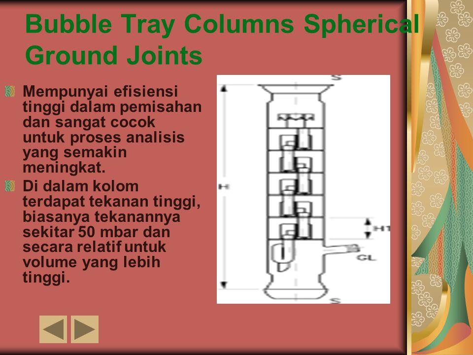 Bubble Tray Columns Spherical Ground Joints Mempunyai efisiensi tinggi dalam pemisahan dan sangat cocok untuk proses analisis yang semakin meningkat.