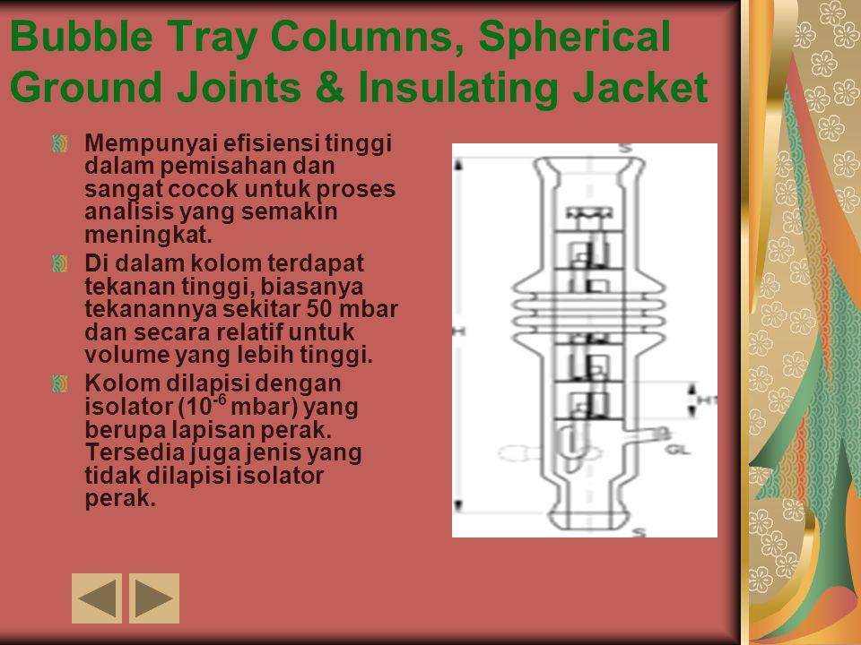 Bubble Tray Columns, Spherical Ground Joints & Insulating Jacket Mempunyai efisiensi tinggi dalam pemisahan dan sangat cocok untuk proses analisis yan