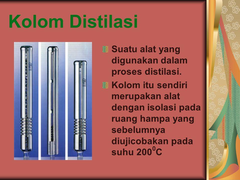 Kolom Distilasi Suatu alat yang digunakan dalam proses distilasi. Kolom itu sendiri merupakan alat dengan isolasi pada ruang hampa yang sebelumnya diu