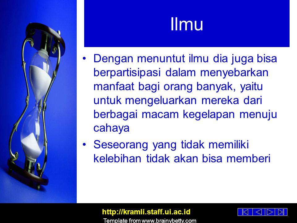 http://kramli.staff.ui.ac.id Template from www.brainybetty.com Amal Manusia dinilai dan diingat karena amal-amalnya –Akhlak-nya –Karya-karya-nya (jasa) Sesungguhnya aku benci jika melihat salah seorang di antara kamu berpangku tangan, tanpa amal, baik dunia maupun akhirat ('Umar bin Khaththab)