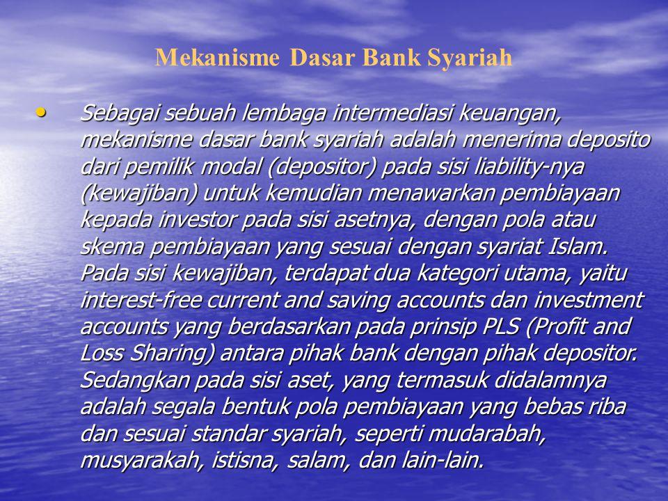 Mekanisme Dasar Bank Syariah Sebagai sebuah lembaga intermediasi keuangan, mekanisme dasar bank syariah adalah menerima deposito dari pemilik modal (d